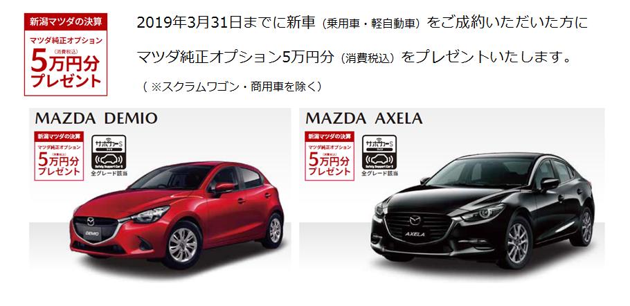 新車(乗用車・軽自動車)をご成約でマツダ純正オプション5万円分(消費税込)をプレゼントします。(※スクラムワゴン・商用車は除きます。※フレアのナビ購入3万円サポートは併用できません。) 《*2019年3月31日まで》 対象車種:デミオ、アクセラ、CX-8、CX-5、CX-3、アテンザ、ロードスター、キャロル、フレア、フレアワゴン、フレアクロスオーバー